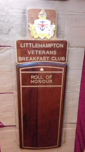 Littlehampton Veteran's Breakfast Club Roll of Honour Board