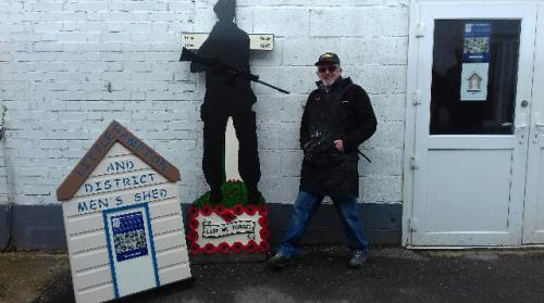 Roy Amos and the latest soldier silhouette he made for the Littlehampton Veterans Club